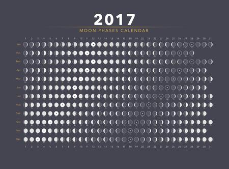 moon phases: moon phases calendar flat vector on grey Illustration