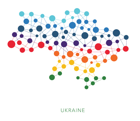mainland: dotted texture Ukraine with Crimea vector Stock Photo