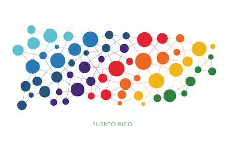 dotted texture Puerto Rico vector background Illustration