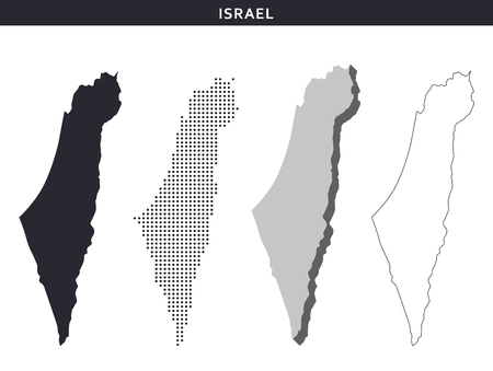 Israel map vector collection, abstract patterns