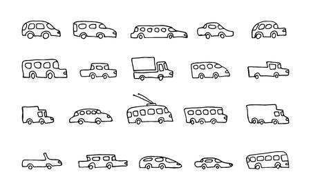 Gekritzel-Transport-Auto-Icons Vektor-Set Standard-Bild - 86139796