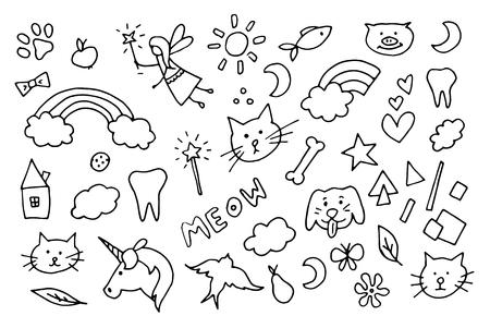 rainbow: Cute magic doodle vector symbols