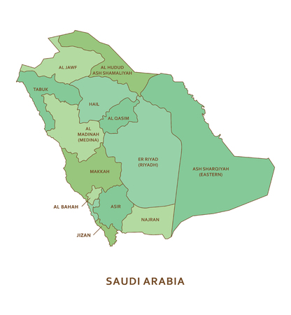 Saudi Arabia regions, vector geography background