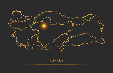 Golden region map, Turkey vector background