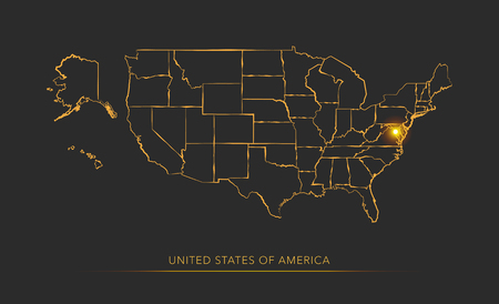 Golden state map, USA vector background