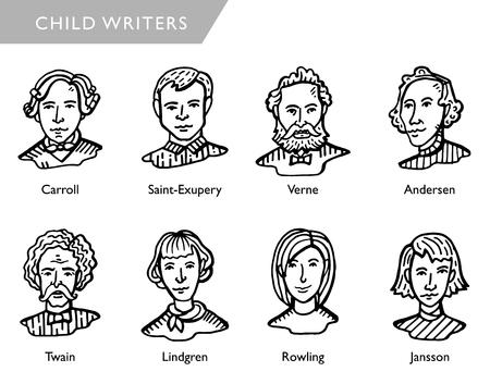 scrittori famosi di bambini, ritratti vettoriali, Carroll, Saint-Exupery, Verne, Andersen, Twain, Lindgren, Rowling, Jansson