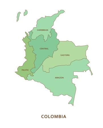 콜롬비아 지역, 벡터 지리 배경 일러스트