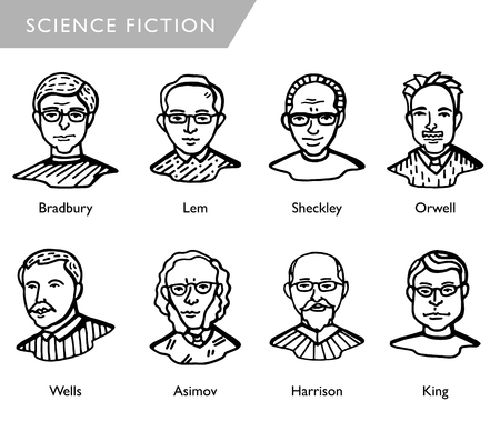 famous science fiction writers, vector portraits, Bradbury, Lem, Sheckley, Orwell, Wells, Asimov, Harrison, King