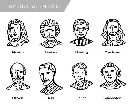 famous scientists vector portraits, Newton, Einstein, Hawking, Mendeleev, Darwin, Tesla, Lomonosov