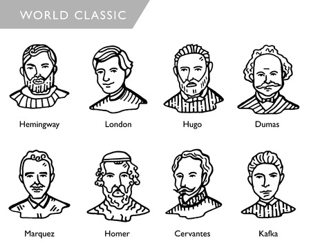 scrittori famosi del mondo, ritratti vettoriali, Hemingway, Londra, Hugo, Dumas, Marquez, Homer, Cervantes, Kafka