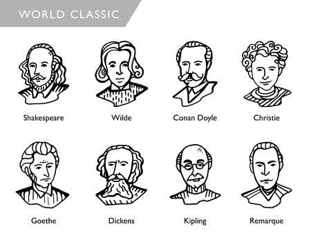 famous world writers, vector portraits, Shakespeare, Wilde, Conan Doyle, Christie, Goethe, Dickens, Kipling, Remarque