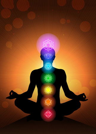 aura energy: human body chakras vector background Illustration