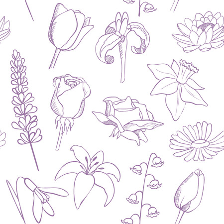flowers sketch seamless vector pattern Illustration