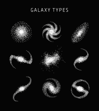 Galaxy types astronomy abstract vector