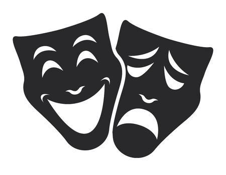 teatr maska symbole wektor zestaw, koncepcja smutny i szczęśliwy