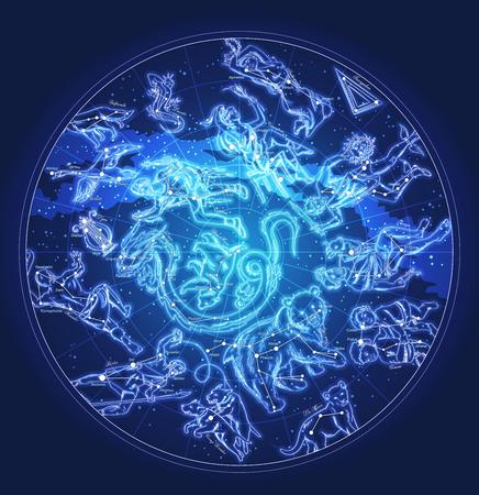 星座や星の名前ベクトルと天文学文字空の地図