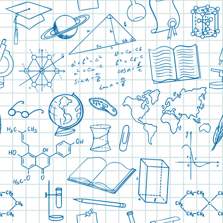 lineart: Back to school seamless vector pattern