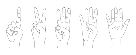 finger count vector, hands sketch set Çizim