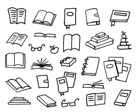 Doodle book collection, vector illustration Illustration