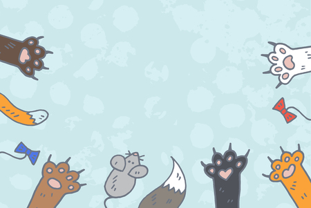 cat paws background vector
