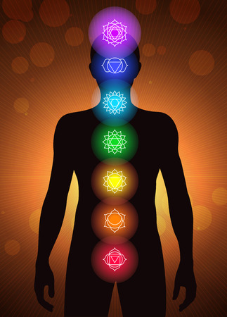 aura energy: chakras location in human body vector