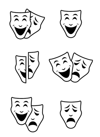A theater emotion mask symbols vector set on white background. Иллюстрация