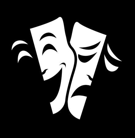 theater emotie masker symbolen vector ingesteld op zwarte achtergrond.