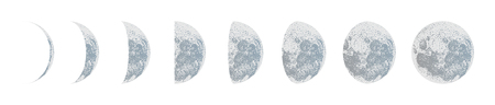 paintings: A moon phases dot vector on white background. Illustration