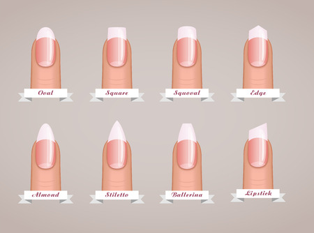 Professional manicure different shapes of nails vector template.
