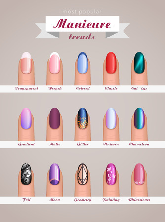 A nail art fashion design trends vector template design.