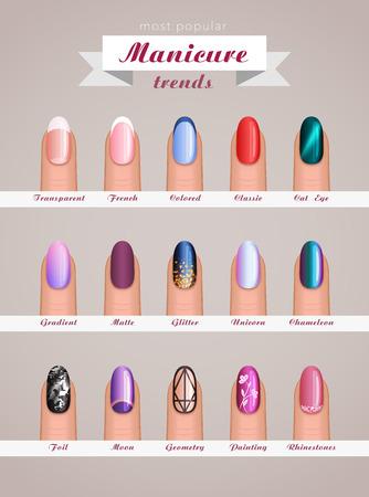 A nail art fashion design trends vector template design.