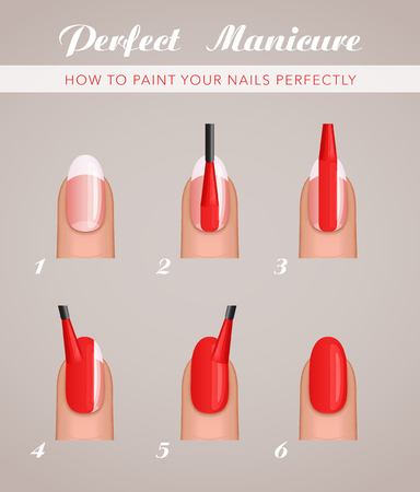 A 6 steps to paint nails, vector tutorial template. Illusztráció