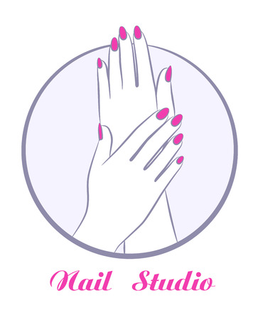 A beauty women hands with manicure, fashion salon symbol vector illustration.