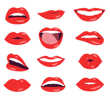 woman lips facial expression vector set Illusztráció