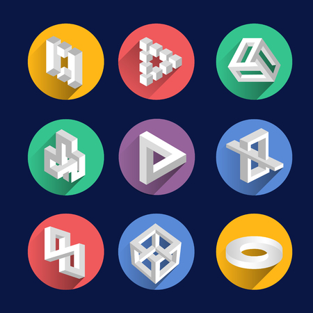 Impossible shapes, optical illusion objects vector symbols