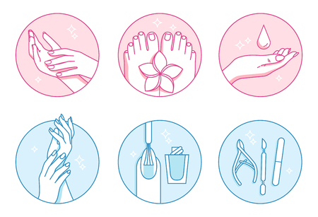 manicure and pedicure salon vector icons set