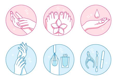 Set di icone vettoriali salone manicure e pedicure Archivio Fotografico - 91104872