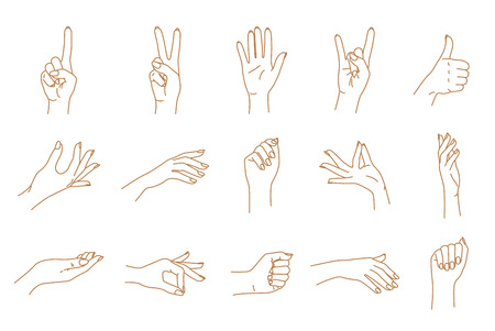 Female hand gestures contour graphic vector set