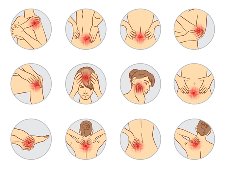 pain vector set, woman body parts 일러스트
