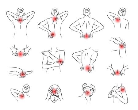 insieme di vettore di dolore, parti del corpo della donna