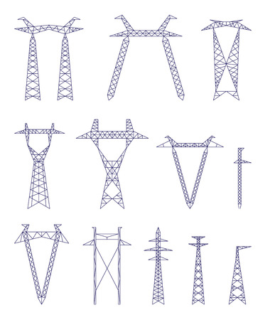 electric towers vector set, power industry