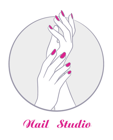 women hands with manicure, fashion salon symbol vector