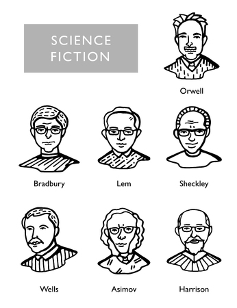 most famous science fiction writers, vector portraits, Bradbury, Lem, Sheckley, Orwell Wells Asimov Harrison