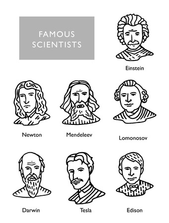 most famous scientists vector portraits, Newton, Einstein, Mendeleev Darwin Tesla Lomonosov
