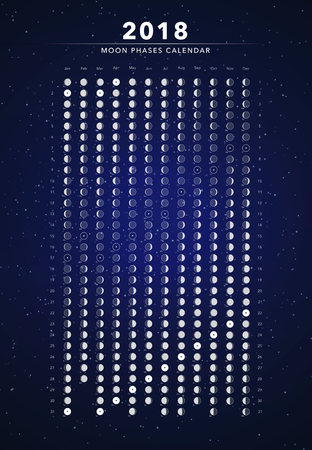 Moon phases calendar vector illustration on dark blue.  イラスト・ベクター素材