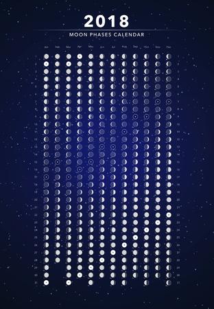 Moon phases calendar vector illustration on dark blue. Illustration