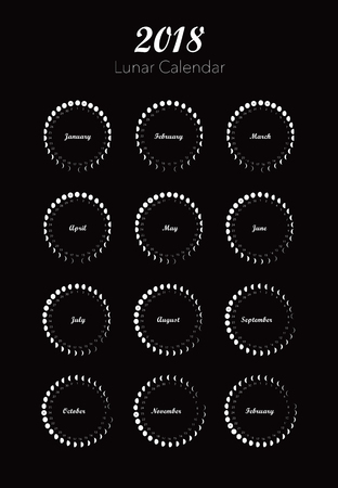 Circle moon phases calendar on black background