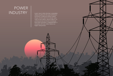 Transmission towers landscape background vector Illusztráció