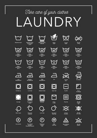 Laundry Vector Icons set, full collection on black background.