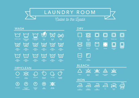 Laundry Vector Icons set, full collection on blue background. Illusztráció